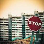 Mobile Photography Toned Stop Sign And Condo Units Art Print