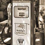 Mobilgas Special - Tokheim Pump  - Sepia Art Print by Mike McGlothlen