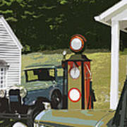 Model A Ford And Old Gas Station Illustration  Art Print
