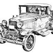 Model A Ford Roadster Antique Car Illustration Art Print