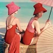 Models At A Beach Art Print