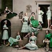 Models In Various Green Dresses Art Print