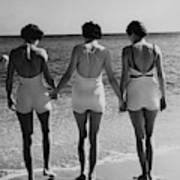 Models On A Beach Art Print
