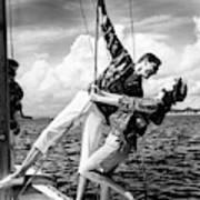 Models Wearing A Bennett Shirts On A Sailboat Art Print
