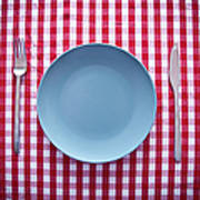 Modern Blue Plate On Red Checkered Art Print