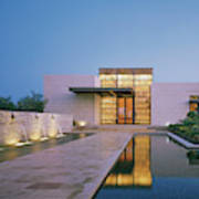 Modern Building With Pool At Dusk Art Print
