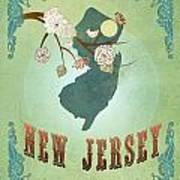 Modern Vintage New Jersey State Map  Art Print