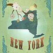 Modern Vintage New York State Map  Art Print