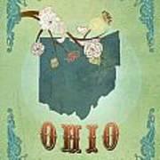 Modern Vintage Ohio State Map  Art Print