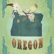 Modern Vintage Oregon State Map  Art Print