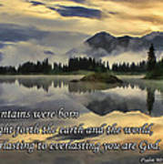 Molas Lake Sunrise With Scripture Art Print