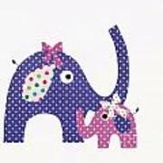 Momma And Baby Elephants Art Print