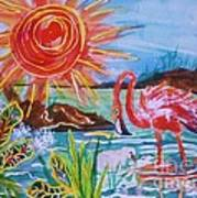 Momma And Baby Flamingo Chillin In A Blue Lagoon  Art Print