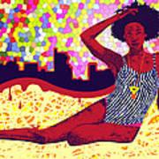Mona Sur La Plage Urbaine Art Print by Kenal Louis