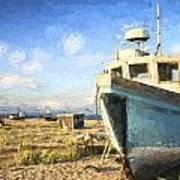 Monet Style Digital Painting Abandoned Fishing Boat On Beach Landscape At Sunset Art Print