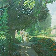 Monets Garden Oil On Board Art Print