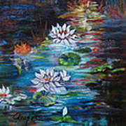 Monet's Pond With Lotus 11 Art Print