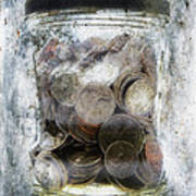 Money Frozen In A Jar Print by Skip Nall