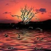 Money Tree Sunset Art Print