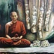Monk In Meditation Art Print