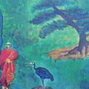 Monk With Bonzai Tree Art Print