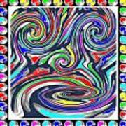 Monkey Dance Created Out Of Beads Of The Border Creative Digital Graphic Work Cartoon Comedy Backgro Art Print