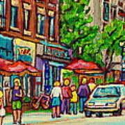 Monkland Tavern Corner Old Orchard Montreal Street Scene Painting Art Print by Carole Spandau