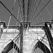 Monochromatic View Of Brooklyn Bridge Art Print
