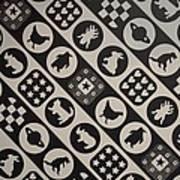 Monochrome Mosaic Art Print