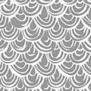 Monochrome Scallop Scales Art Print