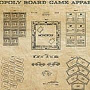 Monopoly Board Game Aged Patent Art  1935 Art Print by Daniel Hagerman