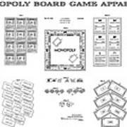 Monopoly Board Game Patent Art  1935 Art Print by Daniel Hagerman