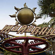 Monorail Signage Disneyland Art Print