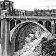 Monroe Street Bridge Iced Over - Spokane Washington Art Print by Daniel Hagerman