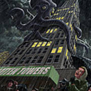 Monster Octopus Attacking Building In Storm Art Print