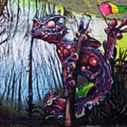 Monster With Flag Art Print
