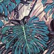 Monstera Blues Art Print
