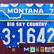 Montana License Plate Map Art Print by Design Turnpike