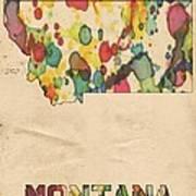 Montana Map Vintage Watercolor Art Print