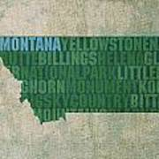 Montana Word Art State Map On Canvas Art Print