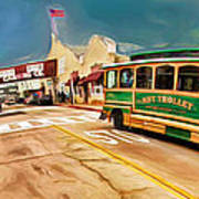 Monterey And Cable Car Bus Art Print