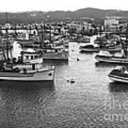 Monterey Harbor Full Of Purse-seiner Fishing Boats California 1945 Art Print