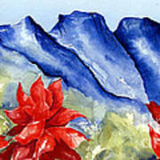 Monterrey Mountains With Red Floral Art Print