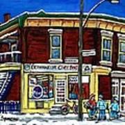 Montreal Art Hockey Paintings Chez Bert Depanneur The Pointe Verdun City Scene Carole Spandau  Art Print