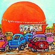 Montreal Art Orange Julep Paintings Montreal Summer City Scenes Carole Spandau Art Print