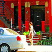 Montreal Art Summer Stroll On A Sunny Morning Colorful Street Verdun City Scene Carole Spandau Art Print