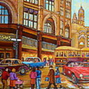 Montreal Memories-streetcars-morgan's Department Store At St.catherine And Union Art Print