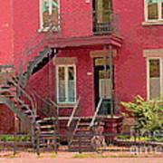 Montreal Memories The Old Neighborhood Timeless Triplex With Spiral Staircase City Scene C Spandau  Art Print