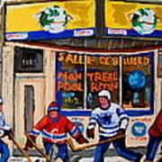 Montreal Pool Room City Scene With Hockey Art Print