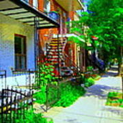 Montreal Stairs Shady Streets Winding Staircases In Balconville Art Of Verdun Scenes Carole Spandau Art Print